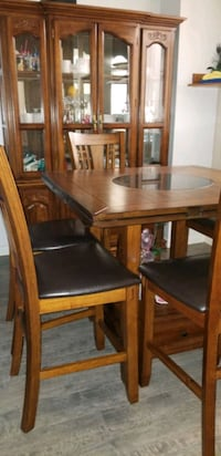 Solid wood Six chair Dinning table with hutch  Surrey, V3T 4M4