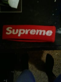 red and white Supreme headband Troy, 12180