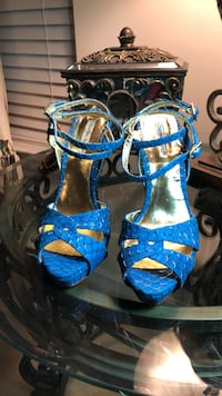 pair of blue-and-brown leather sandals Washington, 20018