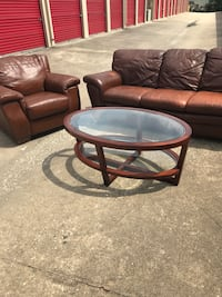 Leather Sofa and Chair + Partial Glass Top Coffee Table Houston, 77055