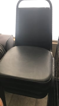Black leather padded chair with gray metal base Albuquerque, 87114