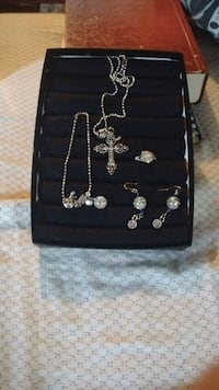 silver-colored chain necklace with earrings set West Jefferson, 28694