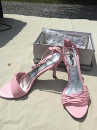 pink leather open toe ankle strap pumps