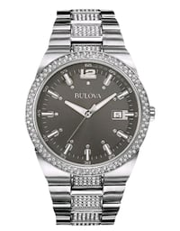 Bulova Men's Crystal Accent Stainless Steel Watch