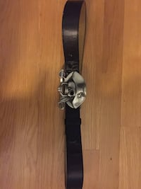 leather belt with pirate belt buckle. Buckle Is also bottle opener