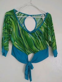 green and blue striped scoop-neck shirt Tulare, 93274
