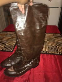 pair of black leather knee-high boots East Providence, 02916