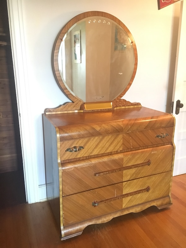 Antique wood dresser with mirror