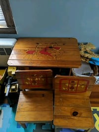 Very old vintage circus table and chairs for kids