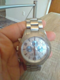 round silver-colored chronograph watch with link b Albany, 12206