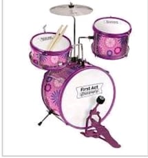 pink and white drum set