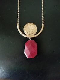New Necklace gold plated with gold disk pendant and a burgundy one Vaughan