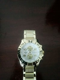 round silver-colored chronograph watch with link b San Antonio, 78244