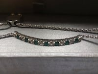 Zales silver bolo bracelet white saphire Emerald not used Lowell, 01852