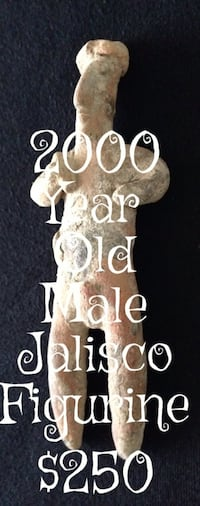 """Jalisco male figure 200 bc – 350 ad  a fine jalisco male figure from west mexico, ca. 200 bc – 350 ad  this lovely example is 5"""" tall  comes with certificate of authenticity"""