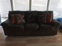 Black leather 3-seat sofa BOWIE