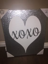 white and silver heart xoxo painting