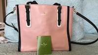 Kate Spade  Leather  Satchel.  pink and black clean interior great summer bag. Indio, 92203