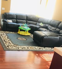 black leather sectional sofa with ottoman Lathrop