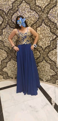 Beautiful navy blue dress with golden flowers  Bruchköbel, 63486
