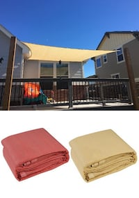 New $32 each 12x12' Square Sun Shade Sail UV Top Cover Outdoor Patio Canopy (Tan or Red) Alhambra