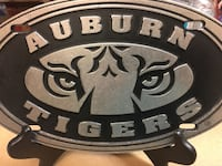 silver and black metal Auburn tiger with real wood stand excellent condition like new  Birmingham, 35226
