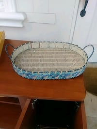 oblong white and blue wicker serving tray Coral Gables, 33134