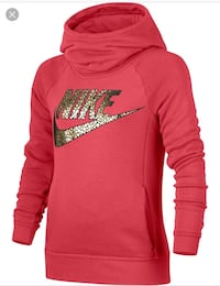 red and brown Nike hooded jacket