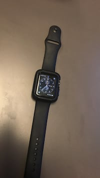 Space gray aluminum case apple watch with black sp