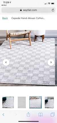 Gray/white/blue handwoven rug 4'x6' Washington, 20010