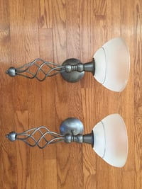 two gray metal framed uplight chandeliers Chantilly, 20151