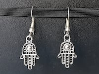 Silver Hamsa Hand Earrings Athens, 11635