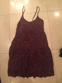 red and black paisley spaghetti-strap dress