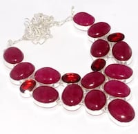 """New red quartz sterling silver 925 necklace 18"""" Palatine"""