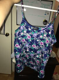 blue and white floral spaghetti strap top