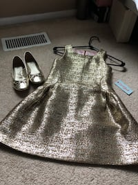 Cat & Jack Gold fully lined dress & matching shoes NWT. Baltimore, 21221