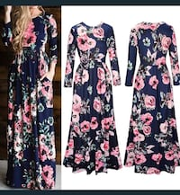 Black and pink floral long-sleeved mini dress collage