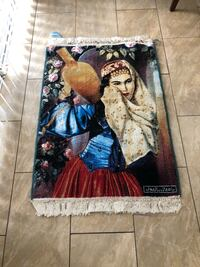 "Persian rug, Decor wall Hanging, machine rug,Cultural girl Theme,40""x30""."