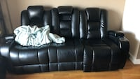 Black leather 3-seat recliner sofa Schaumburg, 60195