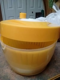 yellow and white plastic container
