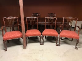 6 CHIPPENDALE CLAW FOOT CHAIRS
