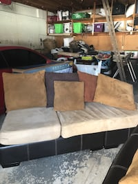 brown and black fabric sofa Mississauga, L5J 2S8