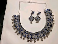 blue oxidized set necklace and earrings Aldie, 20105