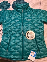 green and white zip-up bubble jacket Baltimore, 21211
