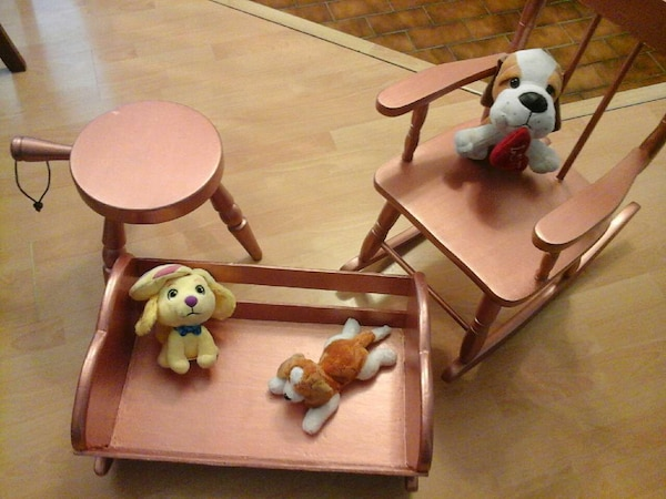 Doll cradle,  rocking chair  & stool