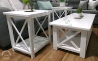 Rustic coffee table and 2 end tables set (solid wood, white) Brant