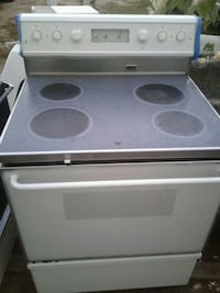 white and blue induction range oven