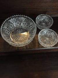 Crystal salad bowl with two small bowls Toronto, M3M 1C5