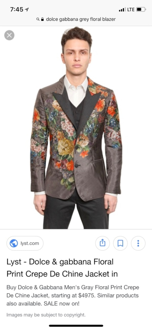 a658f568c5f Men s Authentic Dolce and Gabbana black and multicolored floral coat ...