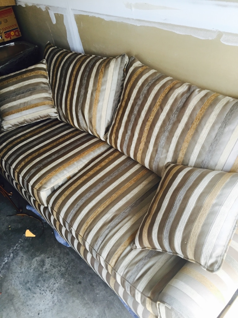 Tan Beige Gold Couch. Striped Luxurious Couch/sofa